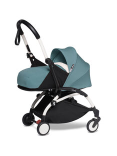 Poussette YOYO² 0-6 mois aqua Babyzen : châssis blanc& nacelle aqua. Composez votre pack !