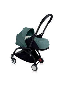 Poussette 0-6 mois aqua YOYO+ Babyzen : châssis noir & nacelle aqua. Composez votre pack !