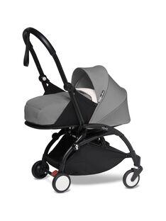 Poussette YOYO² 0-6 mois grise Babyzen : châssis noir & nacelle grise. Composez votre pack !