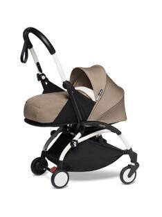 Poussette YOYO² 0-6 mois taupe Babyzen : châssis blanc & nacelle taupe. Composez votre pack !