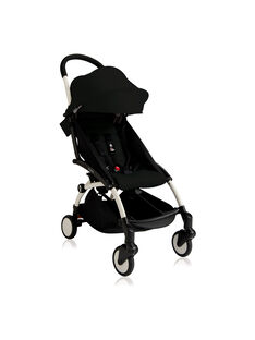 Poussette YOYO+ 6 mois-4 ans noire Babyzen : châssis blanc & hamac noir. Composez votre pack !