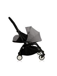 Poussette YOYO+ 0-6 mois grise Babyzen : châssis noir & nacelle grise. Composez votre pack !