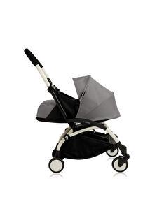 Poussette YOYO+ 0-6 mois grise Babyzen : châssis blanc & nacelle grise. Composez votre pack !