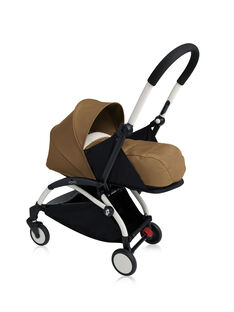 Poussette YOYO+ 0-6 mois toffee Babyzen : châssis blanc & nacelle toffee. Composez votre pack !