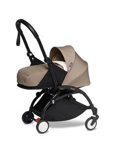 Poussette YOYO² 0-6 mois taupe Babyzen : châssis noir & nacelle taupe. Composez votre pack !