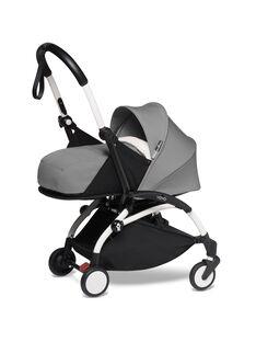 Poussette YOYO² 0-6 mois grise Babyzen : châssis blanc & nacelle grise. Composez votre pack !