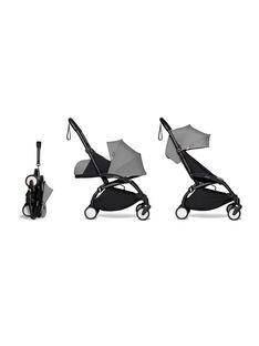Poussette YOYO² complète 0-4 ans grise Babyzen : châssis noir, nacelle & hamac gris. Composez votre pack !