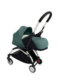 Poussette YOYO+ 0-6 mois aqua Babyzen : châssis blanc & nacelle aqua. Composez votre pack !