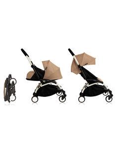 Poussette complète 0-4 ans taupe YOYO+ Babyzen : châssis blanc, nacelle & hamac taupe. Composez votre pack !