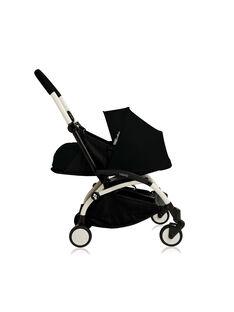 Poussette YOYO+ 0-6 mois noire Babyzen : châssis blanc & nacelle noire. Composez votre pack !