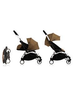 Poussette complète 0-4 ans toffee YOYO+ Babyzen : châssis blanc, nacelle & hamac toffee. Composez votre pack !