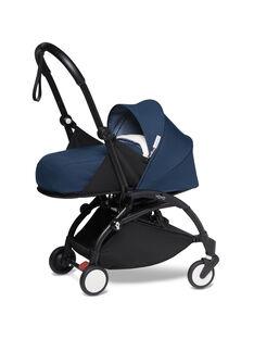Poussette YOYO² 0-6 mois bleu Air France Babyzen : châssis noir & nacelle bleu Air France. Composez votre pack !