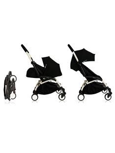 Poussette complète 0-4 ans noire YOYO+ Babyzen : châssis blanc, nacelle & hamac noirs. Composez votre pack !