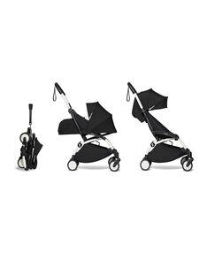 Poussette YOYO² complète 0-4 ans noire Babyzen : châssis blanc, nacelle & hamac noirs. Composez votre pack !