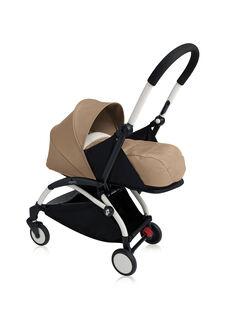 Poussette YOYO+ 0-6 mois taupe Babyzen : châssis blanc & nacelle taupe. Composez votre pack !