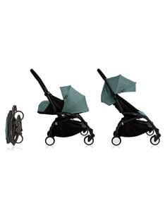 Poussette YOYO+ complète 0-4 ans aqua Babyzen : châssis noir, nacelle & hamac aqua. Composez votre pack !