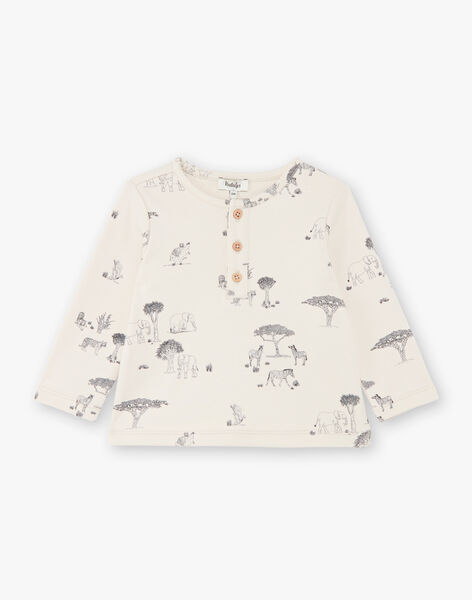 Tee-shirt garçon manches longues en imprimé couleur lin CALVIN 21 / 21VU2013N0FA016