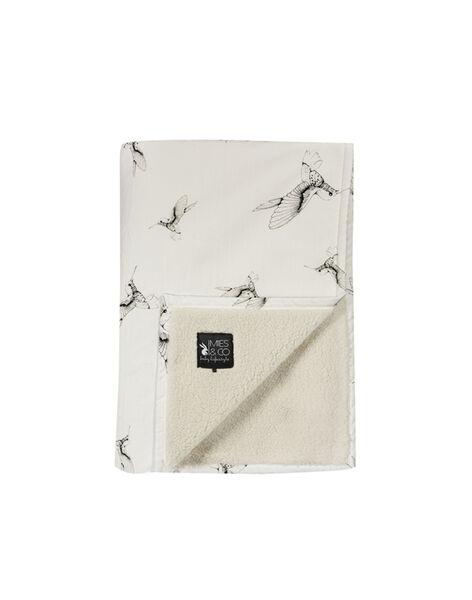 Couverture imprimés oiseaux Mies & Co blanche 70x100 cm 0-6 mois COUV CLOUD DANC / 19PCTE004DEL999