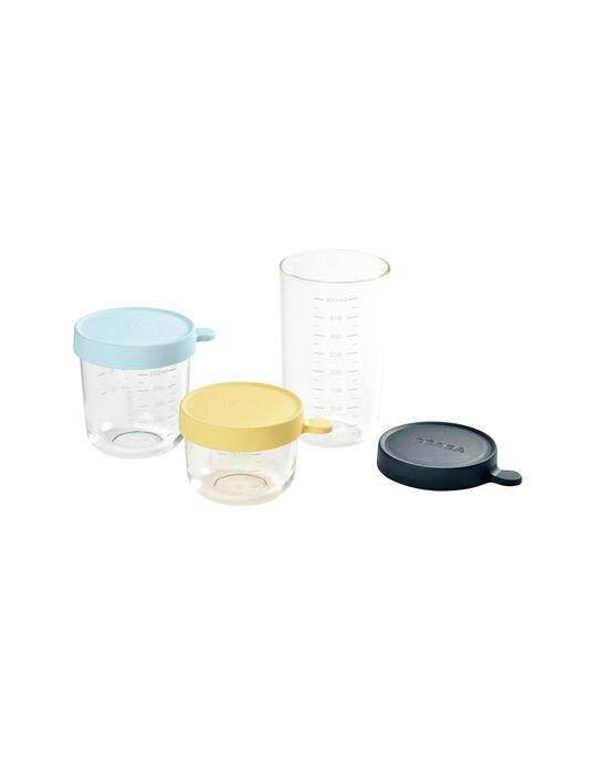 Coffret 3 pots de conservation en verre Béaba jaune 150 mL, bleu 250 mL & bleu marine 400 mL dès 4 mois COF JAUNE BLEU / 19PRR2009VAI999