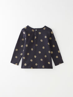 Tee-shirt fille interlock coton pima bleu nocturne en imprimé irisé doré  BRIANA 20 / 20IU1982N0F713