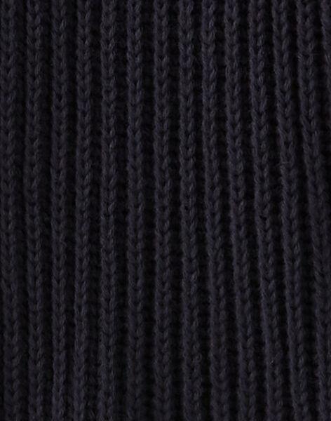 Cardigan fille bleu nocturne en côtes coton cachemire   BIVANA 20 / 20IU1981N11713