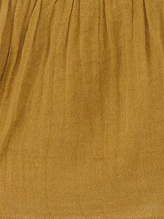 Blouse fille brodée en gaze de coton couleur bronze  CLEMENCE 21 / 21VU1925N09900