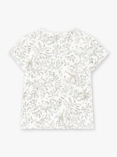 Tee-shirt fille manches courtes imprimé en coton pima vanille  CERENA 21 / 21VU1921N0E114