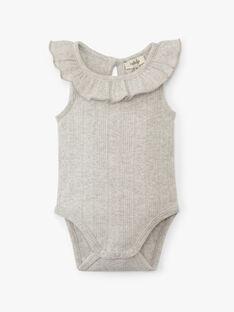 Body fille côtes fantaisie coton pima gris chiné moyen  ALUCIANE 20 / 20VV2216N29J922