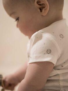 Body mixte manches courtes vanille en coton pima imprimé petits moutons  DANILO 21 / 21PV2414N2D114