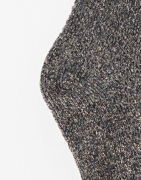 Chaussette fille maille fantaisie gris anthracite chiné avec fil lurex doré  BILKIS 20 / 20IU6053N47944