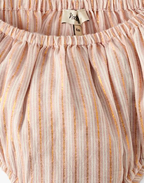 Robe smocks et bloomer rayée avec pointe de lurex cuivré   AUBELLE 20 / 20VU1923N18307