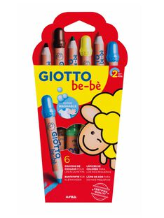 Etui 6 maxi crayons de couleurs + taille crayon 6 CRAYON BOIS / 13PJJO024AJV999