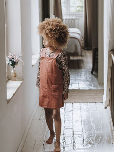 Robe salopette en velours côtelé vieux rose enfant fille DELIA 468 21 / 21I129117N18303