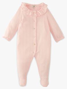 Grenouillère fille col collerette en côtes rose tendre coton pima ADOUCE-EL / PTXX6513N32307