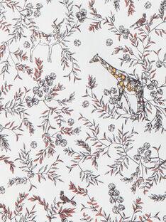 Robe fille vanille imprimé girafes sur voile de coton  CANDICE 21 / 21VU1912N18114