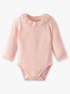 Body fille col collerette coton pima rose dragée ALORIANE 20 / 20VU1911N29D310