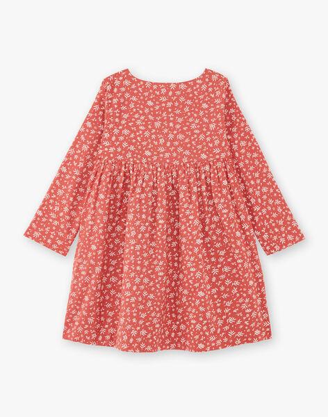 Robe enfant fille terracotta en imprimé floral sur coton  CELINE 468 21 / 21V129113N18410