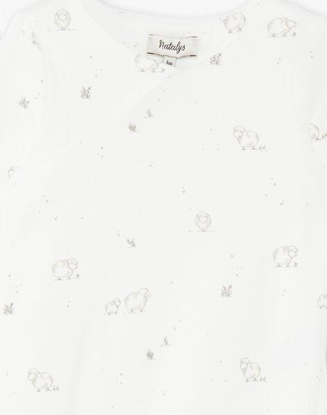 Grenouillère mixte vanille en interlock coton pima imprimé moutons   DOUNUIT 21 / 21PV7312N31114