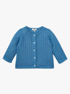 Cardigan fille coton pima couleur bleu nattier  ALYSSA 20 / 20VU1921N11201