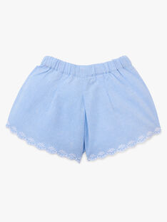 Short jupe culotte fille brodé  en chambray bleu   AMILA 20 / 20VU1923N02721