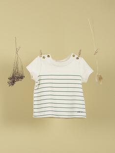 T-shirt vanille à rayures vertes petit lion garçon TITUS 19 / 19VU2033N0E114