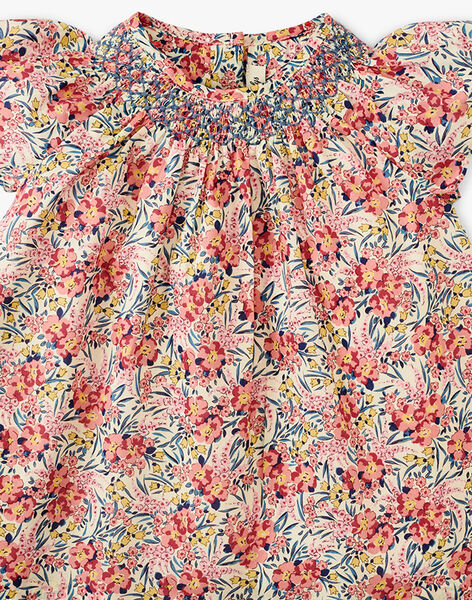 Robe fille manches courtes en imprimé floral Liberty rose  ARMELLE 20 / 20VU1919N18030