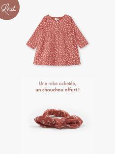 Robe fille terracotta en imprimé floral sur coton  CELINE 21 / 21VU1917N18E415