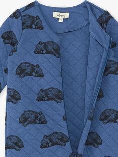 Grenouillère Bleu coton pima imprimé ourson BUBULIN-EL / PTXX8912N31702