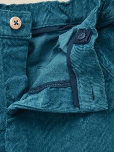 Pantalon velours côtelé bleu canard garçon   VALET 19 / 19IU2033N03714