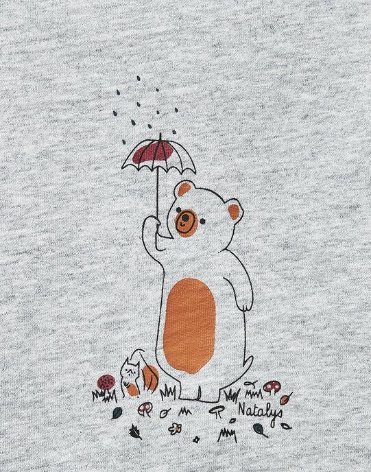 Tee-shirt manches longues gris chiné garçon  VILLERE 19 / 19IV2311N0F943