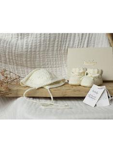 Bonnet de naissance tricoté à la main mixte vanille VELADIANE-EL / PTXV6811N49114