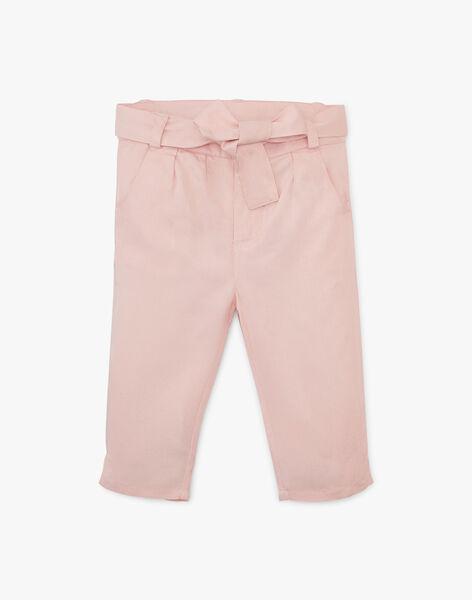 Pantalon fille coupe droite rose dragée en lyocell ALDINE 20 / 20VU1911N03D310