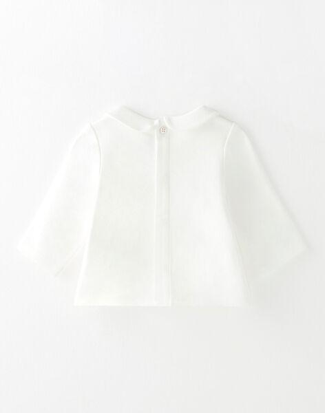 Tee-shirt fille en interlock coton pima vanille et petit motif  BAELYS 20 / 20IV2251N0F114