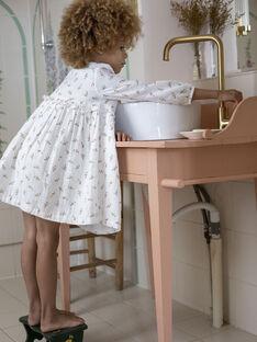 Robe manches longues blanc imprimé fleuri enfant fille DOMITILLE 468 2 / 21I129119N18005